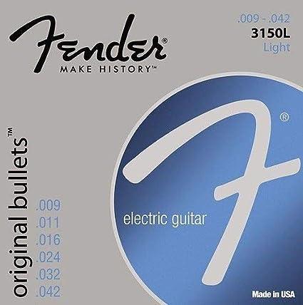 2-Pack Light 9-42 New Fender 3150L Nickel Bullet-End Electric Guitar Strings
