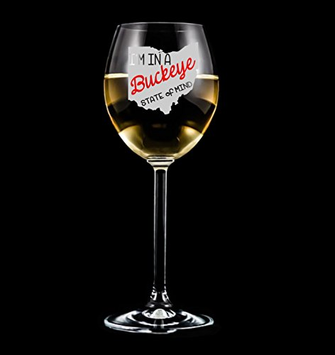 Ohio Buckeye State - gift for women - fun Wine Glass - Engraved Glass - Etched Wine (Ohio State Buckeyes Sugar)