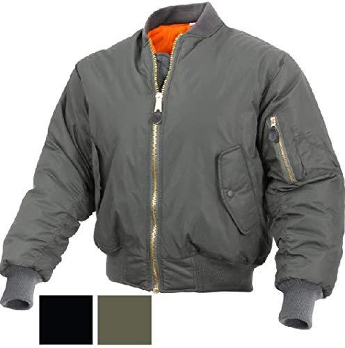 Jacket Enhanced Nylon MA-1 Bomber Flight Jacket Military Air Force Pilot Coat Get 1 Pcs (Large, Sage Green)
