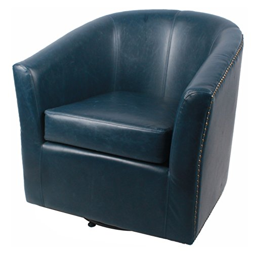 Pacific Chair Leather Heights (New Pacific Direct Ernest Bonded Leather Swivel Chair,Vintage Blue,Fully Assembled)