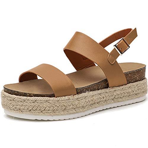 Athlefit Women's Summer Espadrille Flatform Sandals Band Open Toe Cork Wedge Sandals Size 7 Khaki
