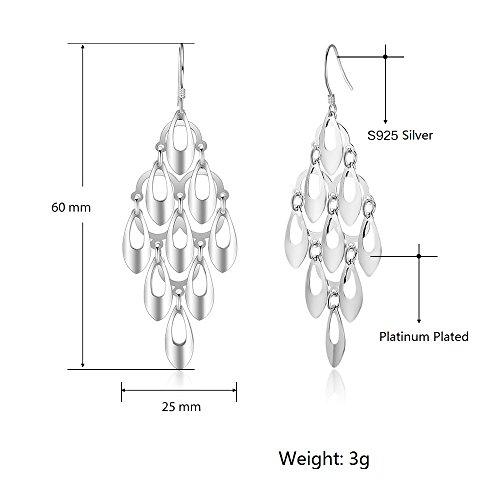 Kalapure Water Drop Tassel Earring, Sterling Silver Teardrop Dangle Earrings Best Gift for Women Mom by Kalapure (Image #3)