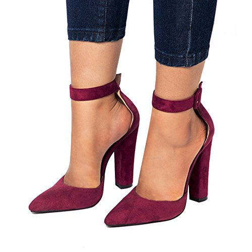 Burgundy Heels - Chunky Heels for Women Strappy Sandal Pointed Toe Lace up Buckle Prom High Heels