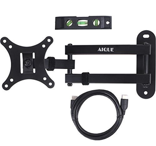 AIQUE TV Articulating Mount 180 Degrees Swivel Black for Flat Screens 10-24 inch LED LCD TVs Up To VESA 100x100mm