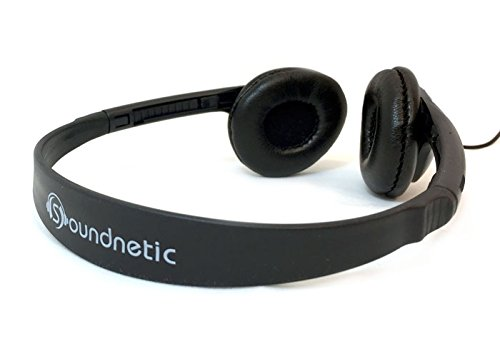 Soundnetic Classroom Stereo Budget Headphones with Leatherette Earpads Volume Control - 10 Pack