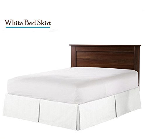 Greatest A Real 400 Thread Count Split Corner Bed Skirt/Dust Ruffle/Valance Olympic Queen Size Solid White 15