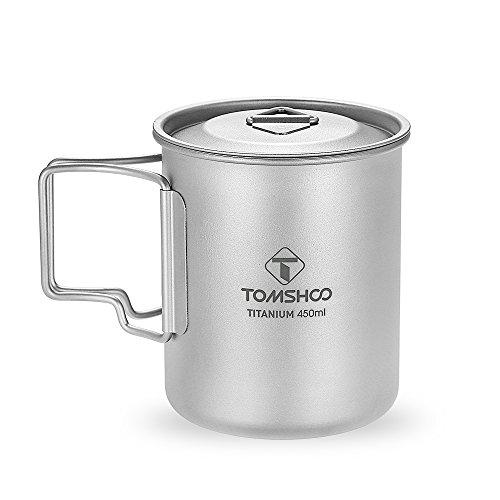 2 in 1 Titanium Spork-1 TOMSHOO Titanium Camping Stove Titanium Cup Mug Pot Compact Durable Portable Camping Cookware Mess Kit with Pot Spork Pan Water Bottle Optional