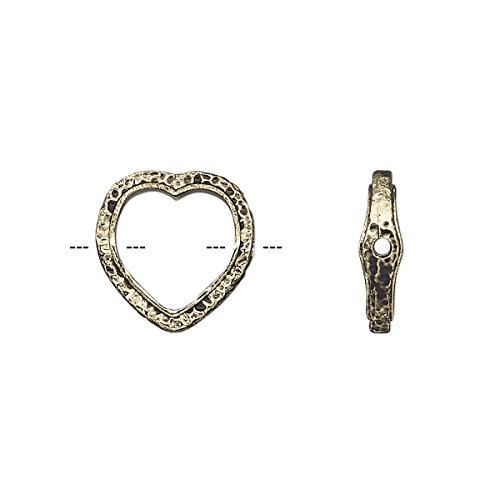 Bead frame 14mm open heart with hammered edge and 0.7-0.8mm hole fits up to 10mm bead