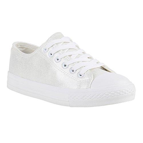 1f40df88cdf0 Stiefelparadies Glitzer Damen Sneakers Sneaker Low Metallic Schnürer Denim  Flats Turnschuhe Sportschuhe Flandell Weiss Silber Glatt