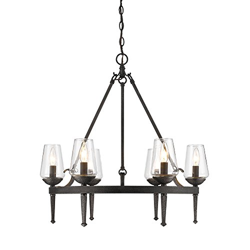 Golden Lighting 1208-6 DNI Marcellis - Six Light Chandelier, Dark Natural Iron Finish with Clear (Transitional Natural Iron)