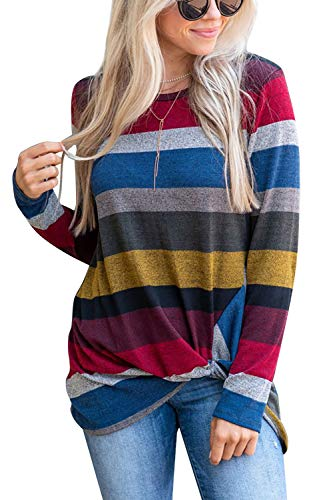 Women's Color Block Striped Shirt Long Sleeve Twist Knot Casual Blouse and Tops (Red, S)