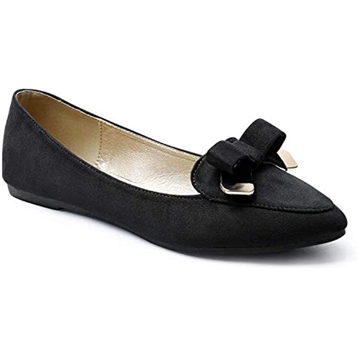Trary Women's Pointed Toe and Bow Slip on Ballet Flat Shoes