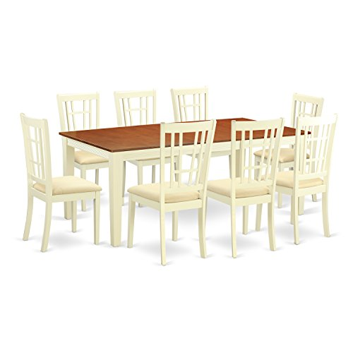 East West Furniture QUNI9-WHI-C 9 Piece Dining Table and 8 Chairs Set