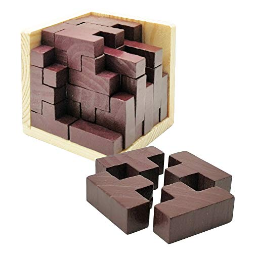 Sopu Wooden Puzzles for Adult and Kids, 3D Brain Teaser Puzzles Educational Toy, Genius Skills Builder T-Shape Pieces with Tetris for Explore Creativity / Build Your Brain