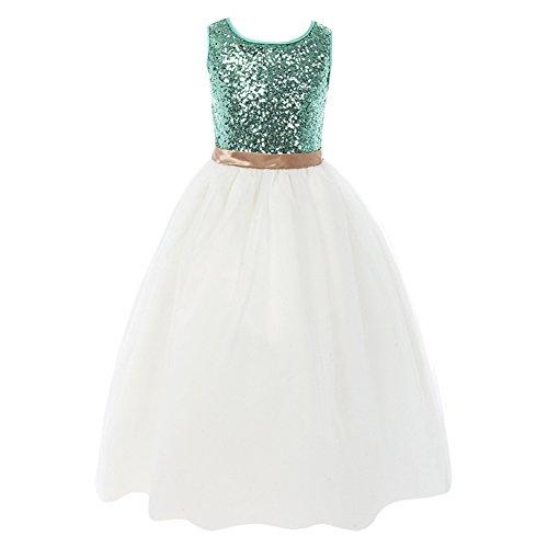 FAYBOX Sequins Glitter Flower Girl Long Pageant Tulle Wedding Dress Aqua 10