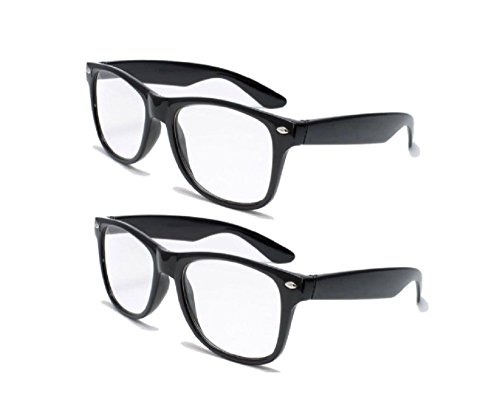 2 Pairs Retro Square Trendy Style Reading Glasses - Comfortable Readers RX Magnification With Spring Hinge 1.75 -