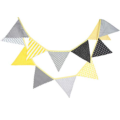 Yellow Gray Black Bee Party Bunting Banner for Bumble Bee Birthday Baby Shower Gender Reveal Graduation Party Decoration Wedding Garland Neutral School Party Girl Boy Nursery Hanging Decoration