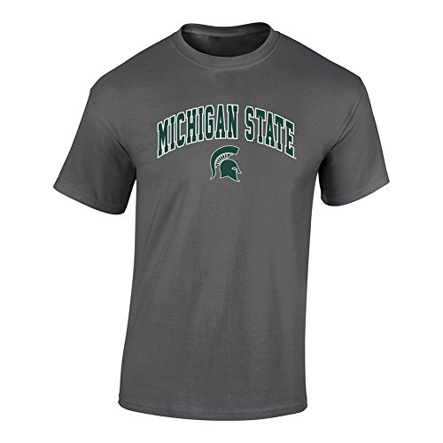 (Elite Fan Shop NCAA Men's Michigan State Spartans T Shirt Dark Heather Arch Michigan State Spartans Dark Heather Large )