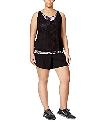 Ideology Plus Size Layered Tank Top, Noir, 3X