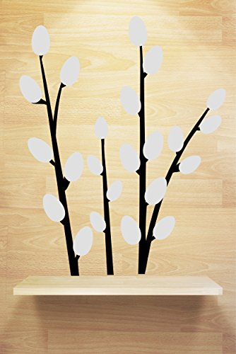 Chic Walls Removable Pussy Willow Blossoming Branch Wall Window Art Décor Decal Vinyl Sticker Mural Living Room Light Grey (Willow Branch 96 Lights)