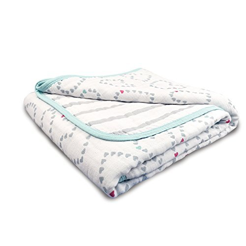 - aden by aden + anais Dream Blanket; 100% Cotton Muslin; 4 Layer Lightweight and Breathable; Large 44 X 44 inch; Light Hearted