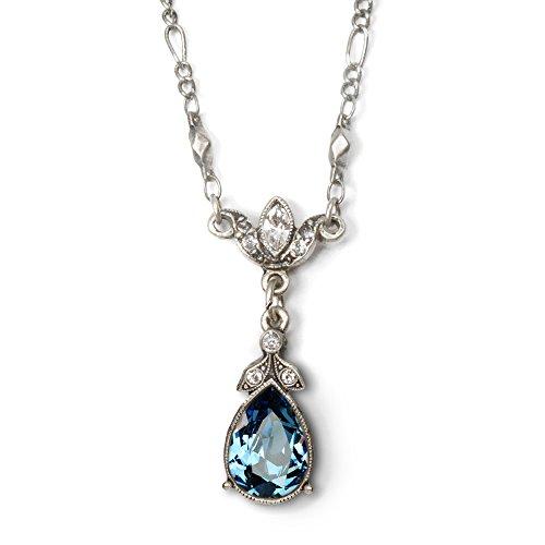 Swarovski Crystal Teardrop Pendant Simple Bridesmaids Vintage Wedding Silver Necklace, Sapphire Denim -
