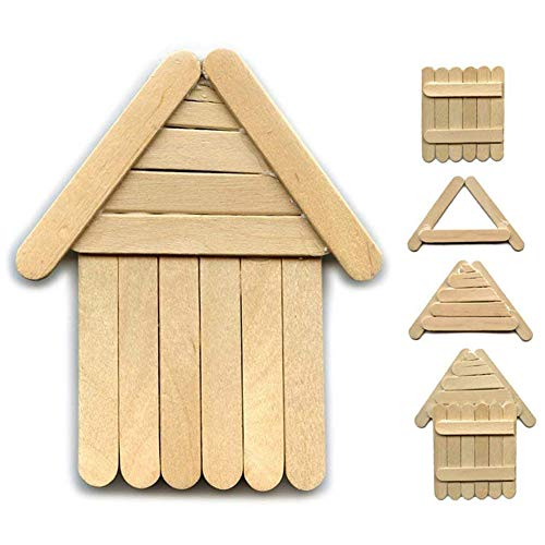 - XINdream 200 PCS Beige Ice Cream Sticks, Manual DIY Assembly Stitching Imagination Wooden Mini Insert Sticks Puzzle Toy Craft Popsicle Kids Hand Art Crafts