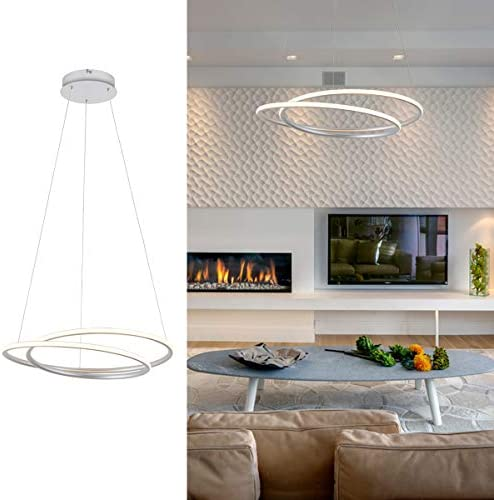 ROYAL PEARL Modern LED Pendant Light Chic Circular Chandelier Creative Hanging Lighting Fixture for Living Dining Room Bedroom Silver Warm White 3000K 47W