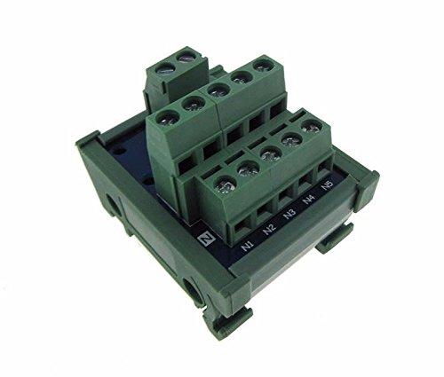 1-5 Channel Power Distribution Breakout Board Screw Terminal DIN Rail Mount 42