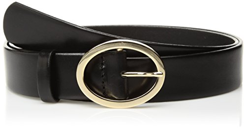Circa Women's Handcrafted Italian Leather Belt with Oval Buckle, black, M - Oval Gold Buckle Belt