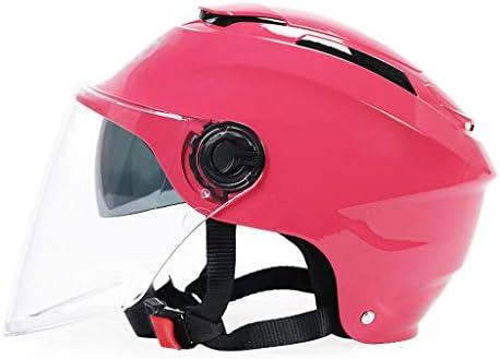 NJ ヘルメット- 電動バイクヘルメットの男性と女性の四季二重レンズハーフカバーヘルメット (色 : Deep pink, サイズ さいず : 33x23x22cm)