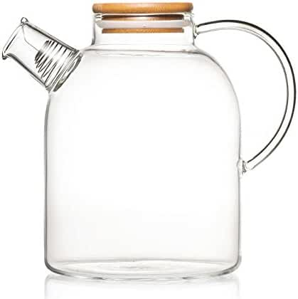 Tealyra - 60 ounce Glass Kettle - Pitcher - Heat Resistant Borosilicate Glass - Stove-top Safe - No-Dripping - Tea, Juice, Water - Hot, Cold & Ice - Lid, Filter, Spout & Handle - Glass Teapot Carafe