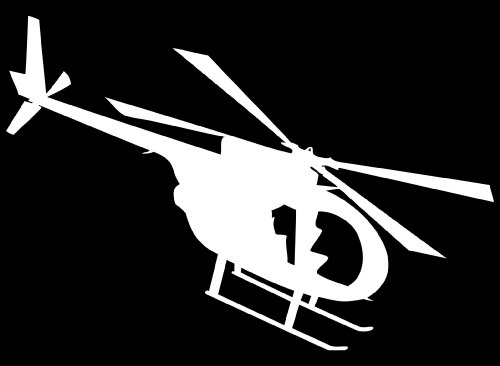 (MD 500 Helicopter Vinyl Sticker/decal White)