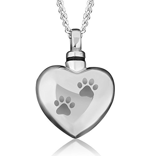 CharmsStory Cremation Urn Ashes Holder Necklace Pet Paw Print Heart Memorial Pendant (Necklace Pet)