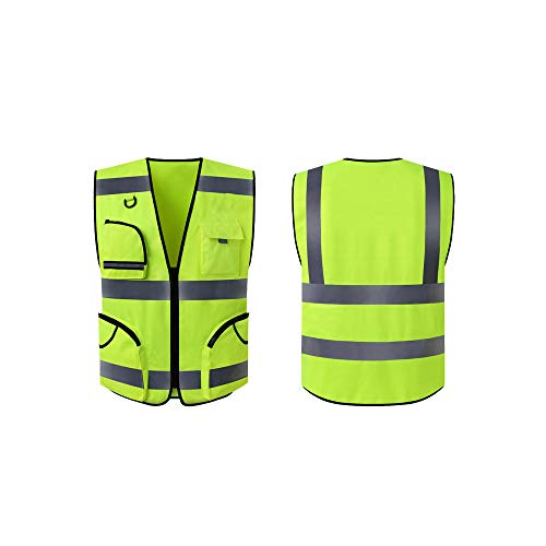 - KTYXDE Executive Vest Vest with Phone and ID Pocket Zip Front Safety Vest with Reflective Strips, Fluorescent Green Reflective Vests (Size : XL)