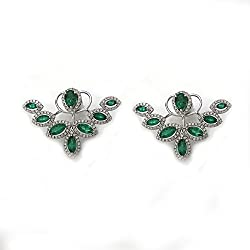 4.34 CT Emerald and Diamond Fashion Earrings in 18K White Gold
