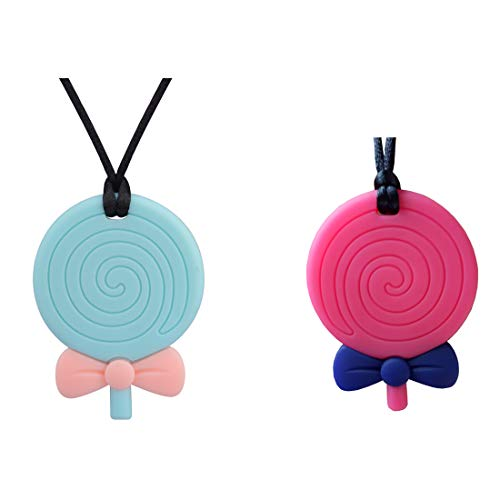 Sensory Chew Necklace for Boys & Girls & Adult - Chewlery for Autism ADHD - Oral Motor Chewing Biting Teething Needs Chewlery (Lollipop - 2pcs)]()