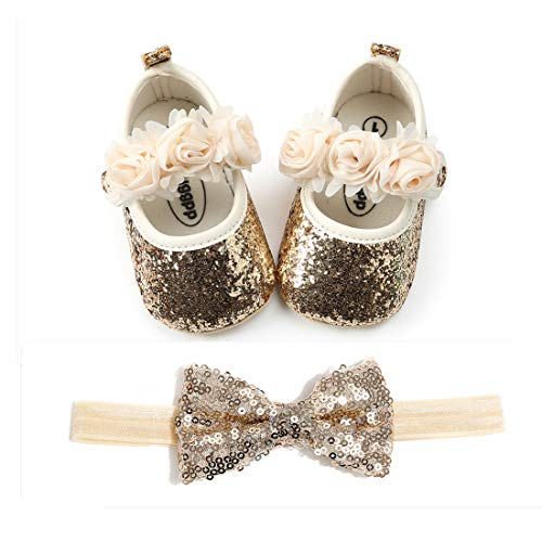 OAISNIT Baby Girl Mary Jane Flats Sparkly Soft Infant Princess Dress Crib Shoes with Headband]()