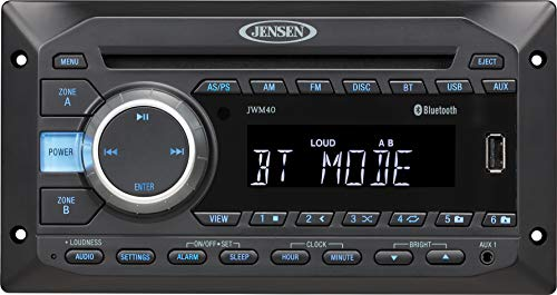 - Jensen JWM40 AM/FM|DVD|CD|USB|AUX| Bluetooth (A2DP & AVRCP) Wallmount Stereo, 2-Speaker Zone / 4 Speakers, Plays: CD, CD-R, CD-RW, DVD, DVD+RW, DVD-RW, DVD-Video, MPEG-4, VCD, JPEG, CD-DA, MP3, WMA