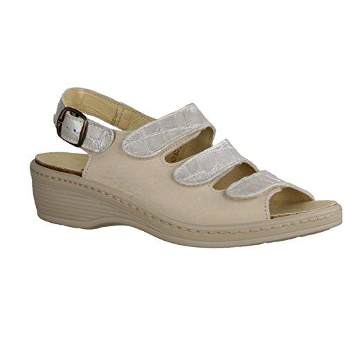 SLOWLIES 151 - Zapatos mujer Sandalia cómodo / relleno suelto, Beige, piel charol / nubuc
