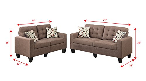 Poundex F6904 Bobkona Windsor Linen-Like 2 Piece Sofa and Loveseat Set, Light coffee