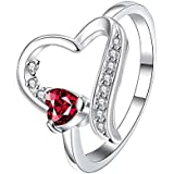 Women Jewelry Heart Ruby Rhinestone 925 Silver Fashion Wedding Ring Size5-10 (10)
