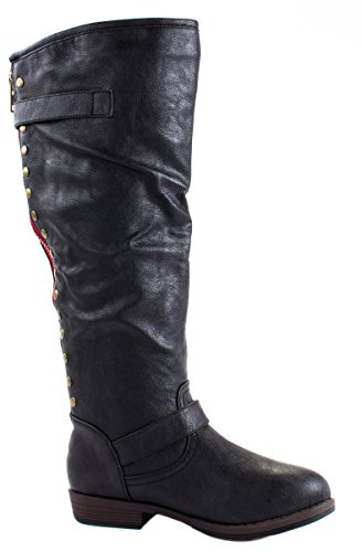 and Boots Full Faux Back Studs Black with Glaze 1 Women's Zipper Jasmine Leatherette Xvxxgwp