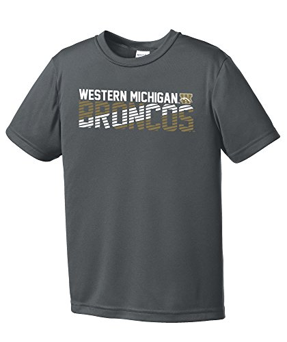 (NCAA Western Michigan Broncos Youth Boys Diagonal Short sleeve Polyester Competitor T-Shirt, Youth Large,IronGrey)