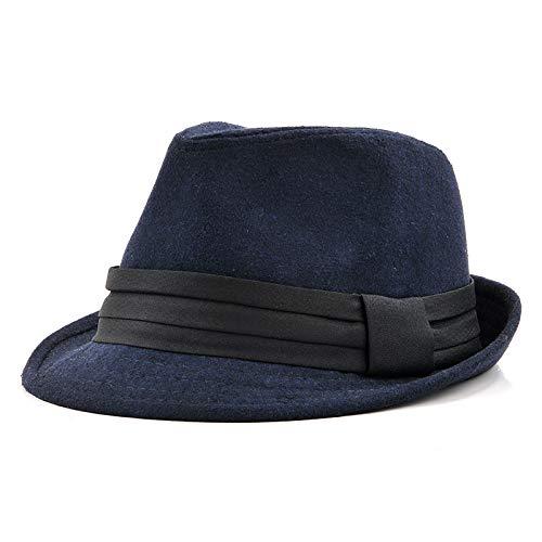 VODRWHAQ VODRWHAQ VODRWHAQ Hombre Gorras Sombrero de Copa para Hombre Sombrero de Jazz Pareja Sombrero Negro Sombrero de Caballero, 56-58 cm, Azul Marino 299206