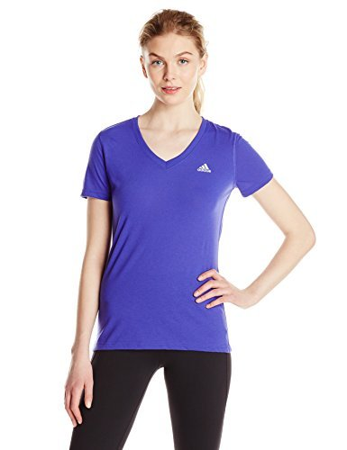 adidas Women's Ultimate Short Sleeve V-Neck Tee, Night Flash/Matte Silver, X-Small - Ultimate V-neck Tee