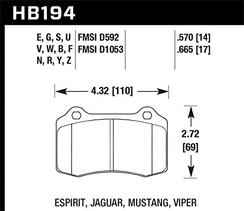 HAWK Performance Street 5.0 Disc Brake Pads REAR SET HB194B.570 w//BREMBO
