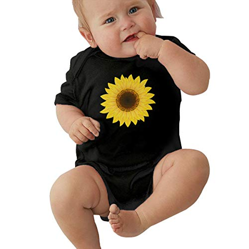 LBJQ9 Sunflower Clipart Newborn Toddler Baby Soft & Breathable Short Sleeve Coveralls Jumpsuits Black