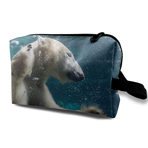 Travel Makeup Cosmetic Bag Brush Pouch Funny Swimming Polar Bear Zipper Pen Organizer Carry Case -