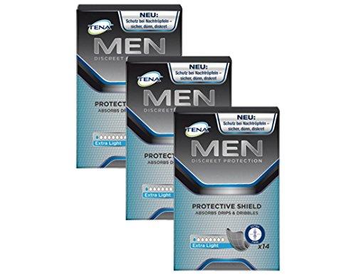 TENA MEN Protective Shield Extra Light, diskrete & komfortable schwarze Hygiene-Einlagen für Männer mit leichter Blasenschwäche, 42 Hygiene-Einlagen (3 x 14 Stück) im Vorratspacket